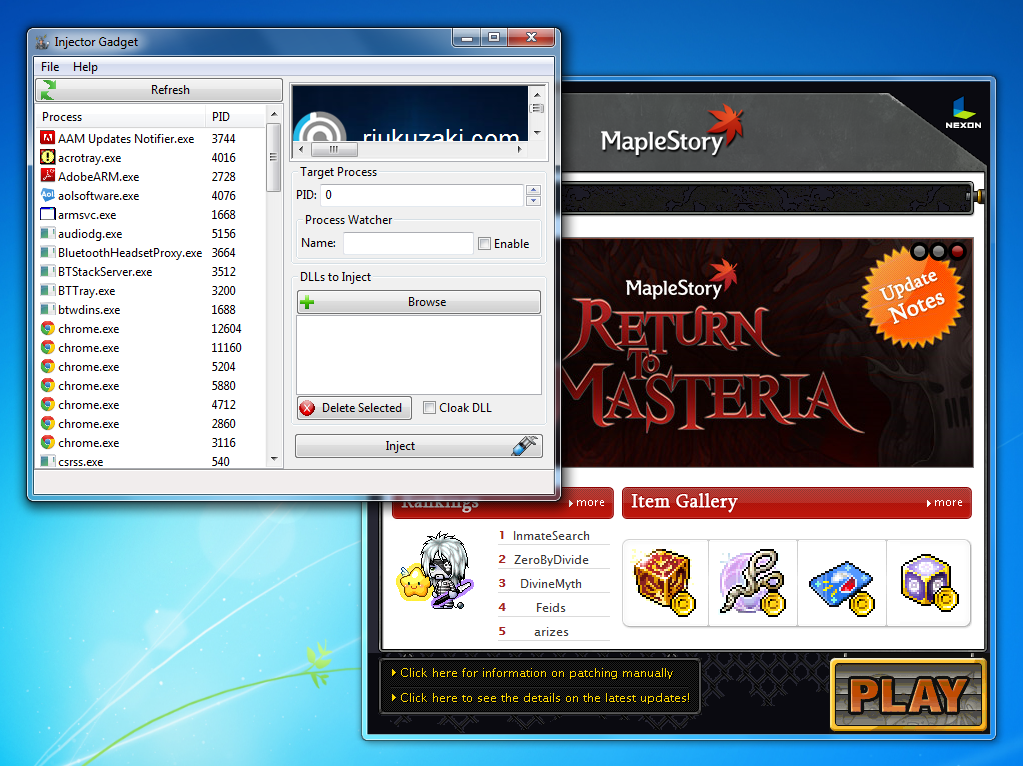 How to inject a DLL file into MapleStory - GameKiller net
