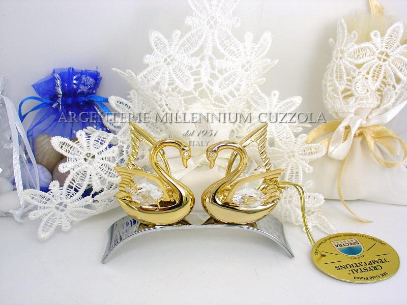 Matrimonio In Oro : Cigni bomboniere cignetti matrimonio nozze oro argento