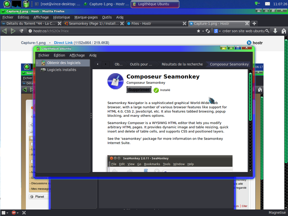 Seamonkey[résolu] / Installation de logiciels et changements