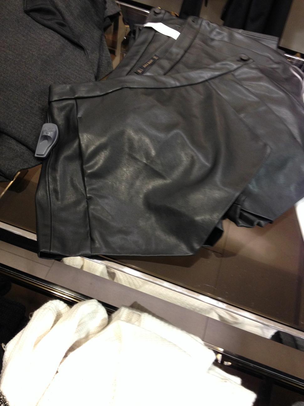 shorts origami in pelle da zara