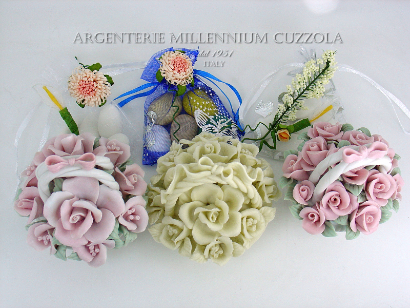 Ebay Segnaposto Matrimonio.Bomboniere Basket Porcelain Placeholder Flowers Wedding Communion