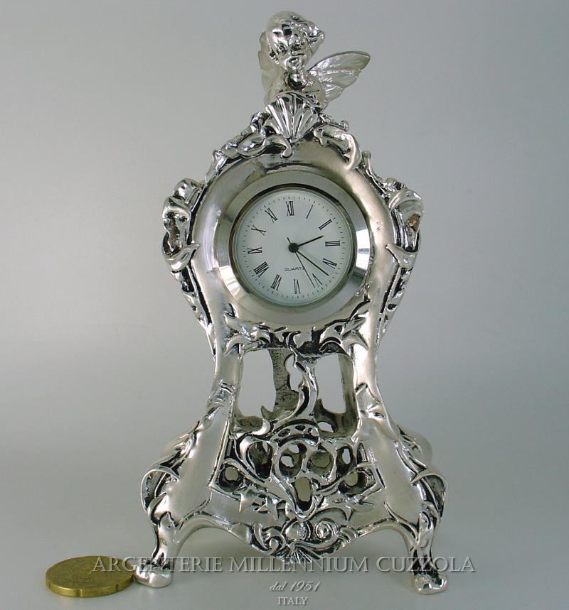Orologio stile barocco argento soprammobile angelo stile - Orologio da tavolo antico ...