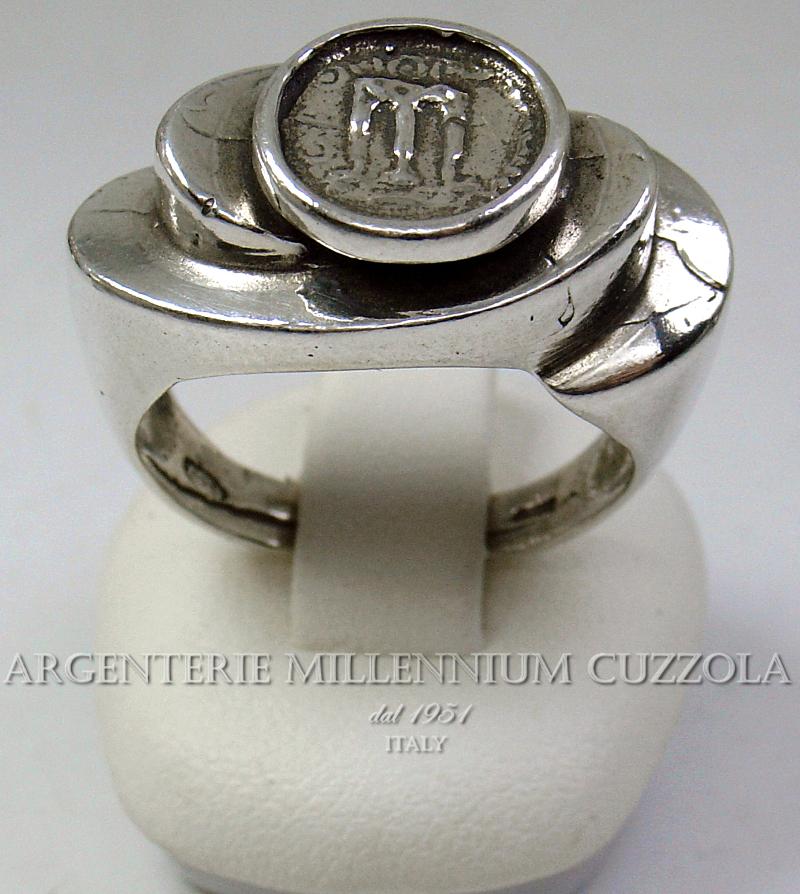 ANELLI MONETA ARGENTO KROTON MAGNA GRECIA TRIPODE SILVER RING COIN BAGUE STATERE
