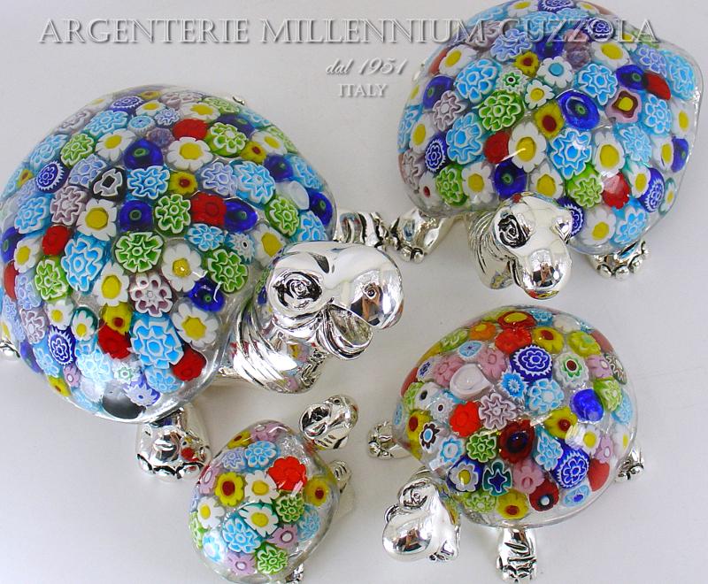 Bomboniera tartaruga vetro murano murrina argento silver for Tartaruga prezzo