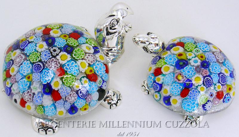 Turtle murano glass millefiori silver silver glass turtle for Tartaruga prezzo