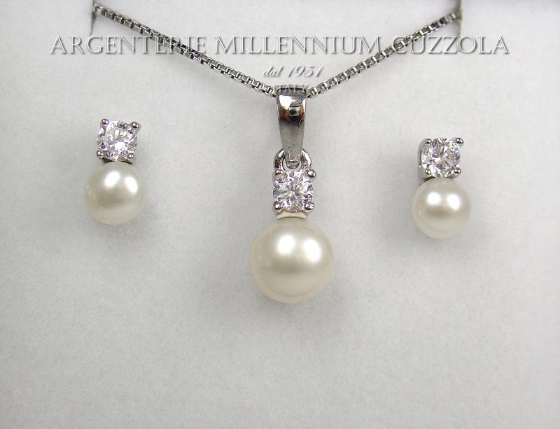 parure argento 925 rodiato oro bianco 18kt collana orecchini perle e brillanti ebay. Black Bedroom Furniture Sets. Home Design Ideas
