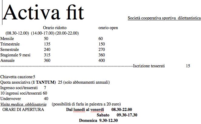 d463713c83a035 Orari e prezzi della palestra Activa di Pesaro