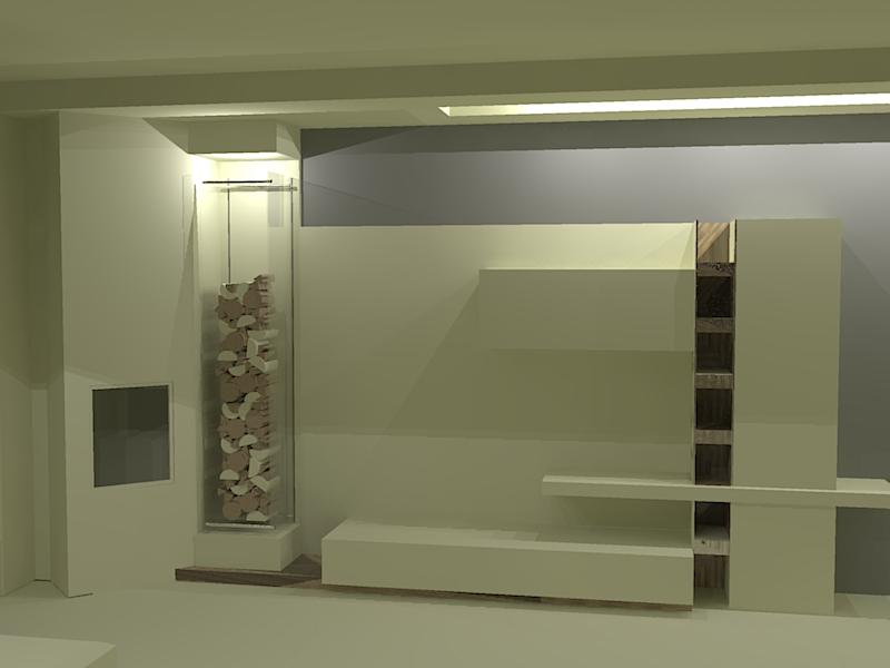 Progetto soggiorno con camino moderno perfect libreria in for Groupon shopping arredamento