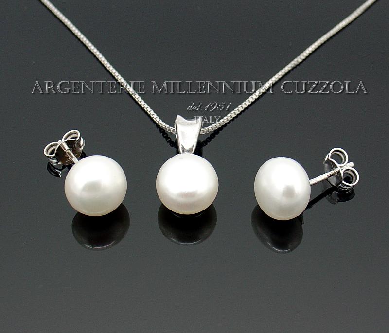 parure perle argento 925 rodiato oro bianco 18kt collana orecchini ebay. Black Bedroom Furniture Sets. Home Design Ideas