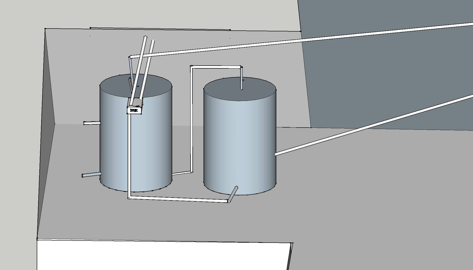 Series connected tanks with external FPHE